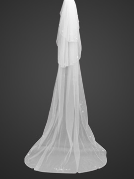 Noble Tidebuy Chapel Style Wedding Veil with Beaded Edge
