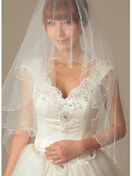 Delicate Elbow Beads Wedding Bride Veil