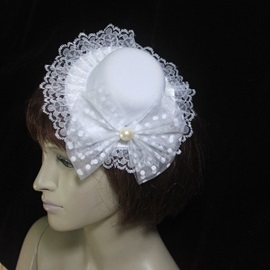 Excellent White Lace Bowknot Wedding Bridal Hats