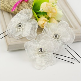 Luxurious Wedding Accessories Handwork Rhinestone Flower Bride Hairpin