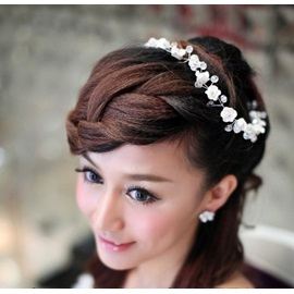 Luxurious Handwork White Flower Wedding Accessories Bride Hairflower