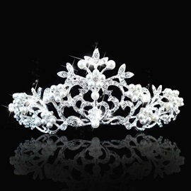 Celebrity Alloy with Pearls&Rhinestone Flower Wedding Bridal Tiara