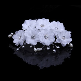 Ladylike Wedding Dress Accessories Rhinestone Pearl Head Flowers Wedding Hairflower