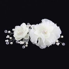 Ladylike Double Flowers Diamond High-Grade Manual Bridal Headpiece With Pearl