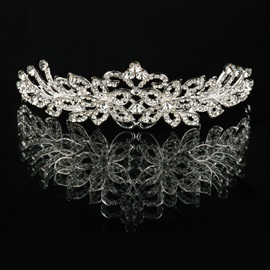 Transparent Rhinestone Floral Alloy Wedding Tiara