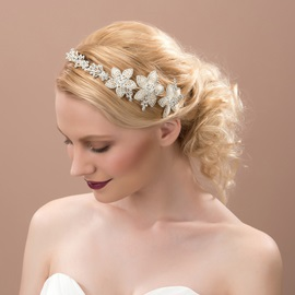 Floral Rhinestone Embellishing Alloy Wedding Headpiece