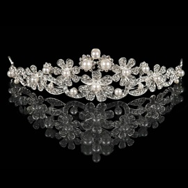 Charming Pearls Embellished Floral Rhinestone Wedding Tiara