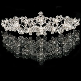 Pearls Floral Rhinestone Wedding Tiara