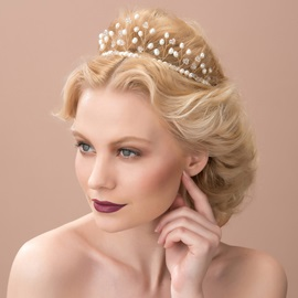Fashion Pearls Floral Wedding Headpiece