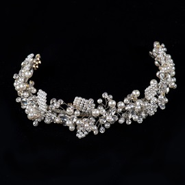 White Round Pearls and Rhinestone Alloy Wedding Headpiece