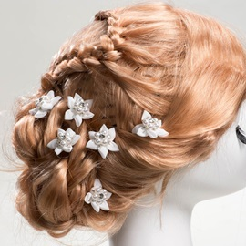 White Pearl Flower Bridal Hair Clip (6 pieces one set)