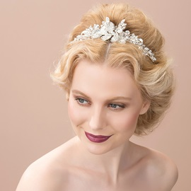 Shiny Floral Rhinestone Alloy Wedding Headband