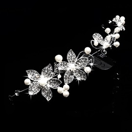 Elegant Pearls Embellishing Floral Rhinestone Wedding Headpiece