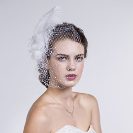 Peals Feather Net Bridal Veil