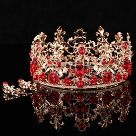 Elegant Red Gemstones Decorated Wedding Tiara