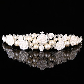 White Ceramic Flower & Pearls Design Wedding Tiara