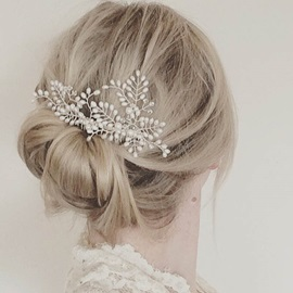 Silver Pearl Inlaid Branch Shape Wedding Hair Comb