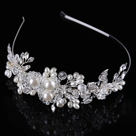 European Style Leaf-Shaped Pearl Wedding/Party Hairband