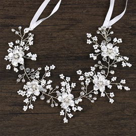 White Petal Shaped Lace-Up High Quality Wedding Hairband