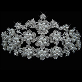 Outstanding Flower Shaped Alloy and Pearl with Rhinestone Wedding Tiaras
