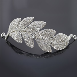 Leaf Shaped Alloy with Rhinestone Wedding Tiaras