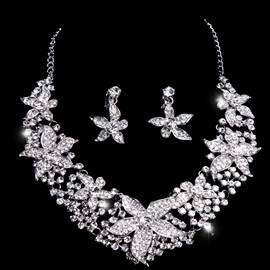 Glittering Rhinestone Floral Two-Piece Wedding Jewelry Set