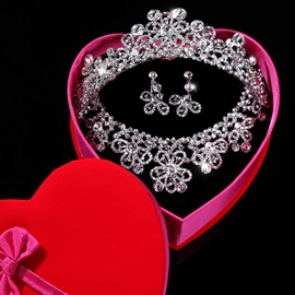 Preety Elegant Diamante Peach Blossom Wedding Jewelry Set Wedding Dress Accessories(Include Tiara Necklace and Earring )