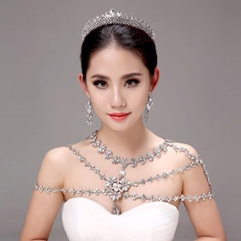 Chic Floral Shaped Alloy Wedding Jewelry Sets (Including Tiara, Earrings, and Necklace)
