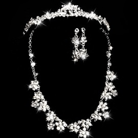 Hot Sale Rhinestone Alloy Wedding Jewelry Sets(Including Tiara, Necklace, and Earrings)
