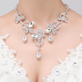 Rhinestone Flowers Design Charming Wedding Necklace & Earrings
