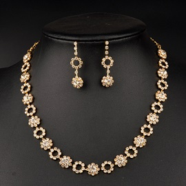 Floral Diamante Alloy Drop Earrings Necklace Vintage Wedding Jewelry Sets