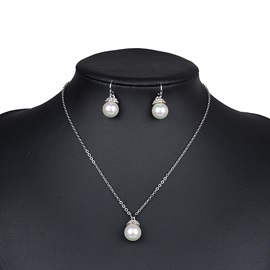 Pearl Diamonds Link Chain Pure Simple Korean Wedding Jewelry Sets