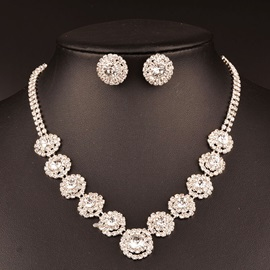 Round Zircon Diamante Wedding Jewelry Sets