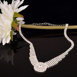 Full Diamante Round Pendant Plain Silver Shining Classical Two-Piece Wedding Jewelry Sets