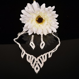 Hollow Out Leaf Shaped Crystal Stone Alloy Chain Wedding Jewelry Sets