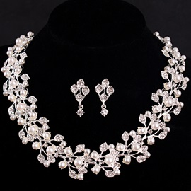 Wreath Shaped Pearl Inlaid Diamante E-Plating Metal Romantic Wedding Jewelry Sets