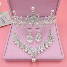Sweet Pearl Rhinestone Inlaid Three-Piece Wedding Jewelry Sets