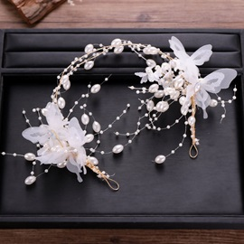 White Pearl Decorated Cloth Earrings Headpiece Jewelry Sets (Wedding)
