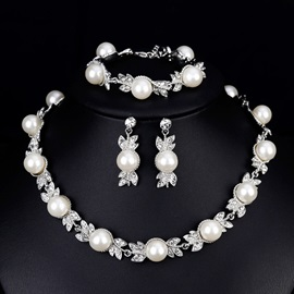Floral Pearl Inlaid Necklace Jewelry Sets (Wedding)