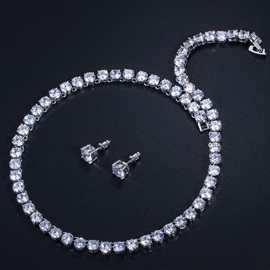 Heart-Shaped Necklace European Jewelry Sets (Wedding)