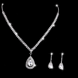 Earrings Floral Diamante Jewelry Sets (Wedding)