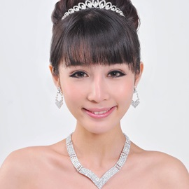 Graceful Joint Style Alloy with Rhinestone Wedding Jewelry Set(including Tiara,Necklace and Earrings)-HC
