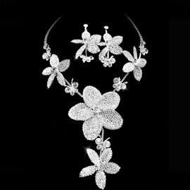 Best Clear Crystal Wedding Bridal Jewelry Set-(Including Necklace,earring) NF2875