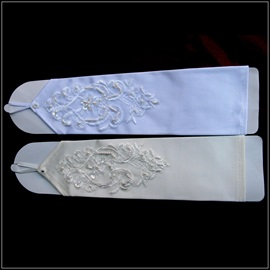 Classic Finger-less Embroidered Satin Wedding Glove with Seamed Bead and Sequins(2Colors)