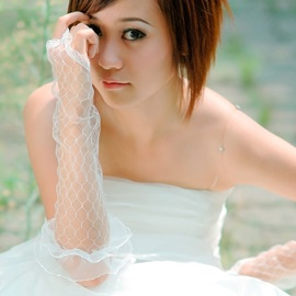 Yarn with Lace Trim Finger-less Long Wedding Glove
