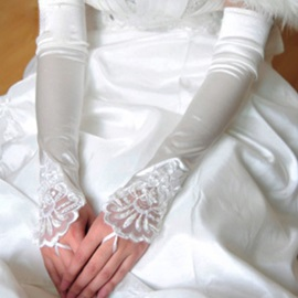 Fingerless Wedding Gloves with Lace Appliques