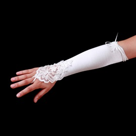 Remarkable Fingerless Bridal/Wedding Gloves with Lace Applique and Cute Flower