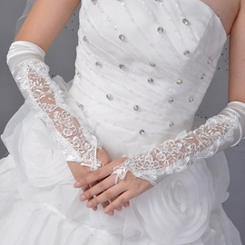 Exquisite Long Fingerless Embroidered Satin Bridal/Wedding Gloves with Lace Applique