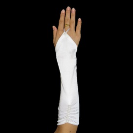Cute Fingerless Ruched Wedding Bridal Glove