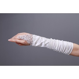 Elegant Half Length Finger-less Bridal Gloves with Lace